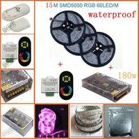 uzaktan kumandalı güç şeritleri toptan satış-15 M SMD 5050 RGB Su Geçirmez 60Led / M Esnek Led Şerit lamba + Kablosuz RF Dimmer Kontrol Dokunmatik Uzaktan Kumanda + 12 v 15A Güç, dandys