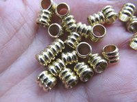 Wholesale Antique Solid Silver - Top Quality--100pcs 6x8mm 14K gold Round ball carved spacer Beads Solid Silver,antique silver,gold,rose gold ,black mix jewelry finding