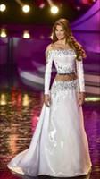 Wholesale Miss Venezuela - 2015 Mariam Habach Miss Venezuela Universe Pageant Dresses Long Sleeves Strapless Sequin Silver Prom party Dresses