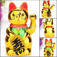 Wholesale Lucky Cat Waving - New Plastic Electric Waving Lucky for Cat Feng-Shui Lucky MoneyCat Maneki Neko Gold by AA Battery Free Shipping order<$18no track