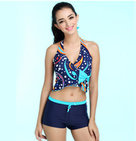 Wholesale Cute Tankini Swimsuits - Women Blue Tankinis Set Cute Tankini Sleeveless Two Pieces Swimsuit Push Up Swimwear Beach Wear Bathing Suit With Boxer HD510-1