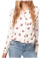 Wholesale Lady Blouse Red - 2016 Free Shipping New White Stand Collar Button Red lip Print chiffon Blouse&Shirt lady fashion Long Sleeve blouse y487