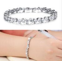 Wholesale Gift Sets Wholsale - 14K White Gold Plated Link Tennis Bangles Charms Bracelets For Women Wholsale