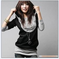 Wholesale Plaid T Shirt Hoodie - Hot Women's Tops Tee Faux Two-Piece T-shirts Hoodies Patchwork Long Sleeve Bodycon Slim Cotton T-shirt