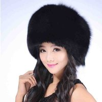 Wholesale White Russian Fox Hat - Wholesale-fashion 2015 Women's hats winter warm high quality fox fur lei feng cap for Russian women bomber hats winter Ushanka for female