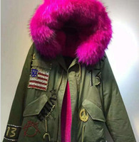 Wholesale rivet flag for sale - Group buy Meifeng brand USA Flag Beading Rose fur trim Italy rabbit fur lining army green mini parka furs cold snow jackets Rivet with raccoon fur