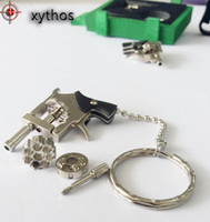 Wholesale Metal Revolver - 2016 the most popular children's toy gun the most interesting Keychain Keyrings gift Metal alloy gun model Alloy revolver