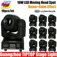 Wholesale-10pcs / lot 4 / 12CH DMX512 LED 10W Poderoso Moving Head 7gobos luz do ponto de LED mini-luz do ponto para a fase Light Show, evento, partido dj