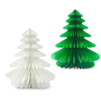 Wholesale Honeycomb Table - Wholesale-25cm(10inch) Handmade Honeycomb Christmas Trees Tissue Paper Trees Centerpiece Table Center For Christmas Party Free shipping