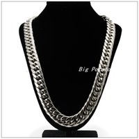 Wholesale 16mm Stainless Steel Necklace - Wholesale-60cm Length 16mm 20mm Width Fashion Chain 316L Stainless Steel Silver Gold Plated Handmade Necklaces For Men Boy,Good Gift