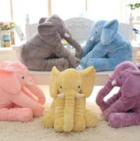 brinquedo gigante de elefante venda por atacado-Dropshipping livre 40 cm 60 cm Colorido Elefante Gigante Animal De Pelúcia Brinquedo Animal Forma Travesseiro Do Bebê Brinquedos Home Decor
