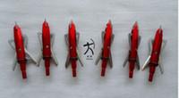 ingrosso frecce gratuite-6 pezzi tiro con l'arco da caccia rabbia punte punte di freccia punte 100 grani 2 lame colore rosso spedizione gratuita