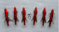 Wholesale Compound Bow Wholesalers - 6 pieces archery hunting rage broadheads arrowheads arrow points 100 grain 2 blades red color free shipping