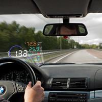 obd araba ekranı toptan satış-5.5 inç Araba HUD HEAD Up Display Gelişmiş Cam LED Projektör OBD II EOBD Sistemi Için orijinal Yüksek Çözünürlüklü Fit Model Arabalar
