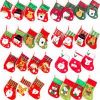 tecido meias natal venda por atacado-Saco de natal Ornaments Lantejoulas Embellished Não Tecidos Meias de Natal Presentes Do Partido Para Crianças Saco de Doces Meias de Natal IC828