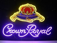 "Wholesale Crown Royal Neon Signs - New Crown Royal Light Neon Beer Sign Bar Pub Sign Real Glass Neon Light Beer Sign 17""X14"""