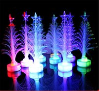 Wholesale 12cm Fiber LED Christmas Tree light Colorful Illuminous Flashing Xmas Tree Nightlight Lamp Outdoor LED Christmas Light Decorations Ornaments