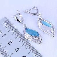 Wholesale Earring Gift Bags - Pleasant Leaf Shaped Blue Sky Topaz & Cubic Zirconia 925 Sterling Silver Huggie Hoop Earrings for Women Free Gift Bag J0500