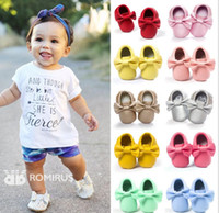 Wholesale Handmade Shoes For Baby Girls - Handmade moccasin for baby Soft Bottom Fashion Tassels Baby Moccasin Newborn Babies Shoes 16 colors infant girl PU leather Prewalkers Boots
