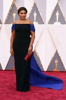 Wholesale blue two tone dress - Mindy Kaling in Elizabeth Kennedy Celebrity Dresses 2016 88th Oscar Two Toned Black Sheath Off Shoulder Royal Blue Bow Split Evening Gowns