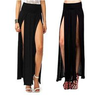 Wholesale Double Split Skirts - Casual New Stylish Candy Color Sexy European American Style Double Side Splits Skirts Summer Ankle Length Skirts Women One Size