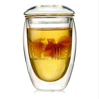 Wholesale Bodum Glasses - Novelty gifts 1sets lot Bodum Double Wall Glass tea strainer 350ml,coffee tumbler,glass tea cups with lid and infuser