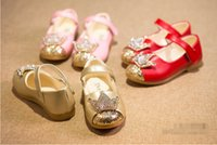 Wholesale Wholesale Crystal Baby Shoes - Crystal diamond PU soft shoes girl aged 4-6 magic spring & autumn baby casual shoes children shoes student 5pair 10pcs B1