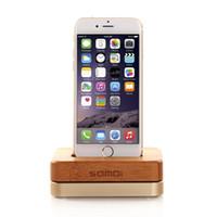 soporte de teléfono celular de madera al por mayor-Al por mayor-Lujo Original Samdi Wooden Bamboo Charger Dock para iPhone 6 6S Plus 5 5S 5C 4 4S teléfono celular Soporte de madera del teléfono móvil