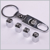 Wholesale 1 set x Silver New Style Chrome Metal Car Tire Wheel Rims Stem Valve CAPS with KeyChain Key Chain set order lt no track