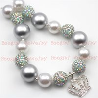 Wholesale Crown Acrylic - Silver Crown Silver Resin Stone Big Beads chunky bubblegum girl statement necklace CB647
