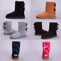 Wholesale Tall Brown Suede Boots Women - 2018 New Australia Classic snow Boots High Quality WGG tall boots real leather Bailey Bowknot women's bailey bow Knee Boots shoes size5-10