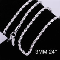 Wholesale Sterling Silver Rope Chain 3mm - Hot sells 16-24 inches 925 silver jewelry 925 Sterling Silver pretty cute fashion charm 3MM rope chain necklace jewelry
