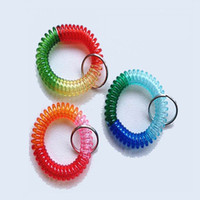 Wholesale Round Plastic Key Tags - DHL Free shipping 100pcs Rainbow Plastic Spiral Coil Wrist Band Key Tags Keyring Random Colors