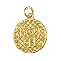 Wholesale Cheap Coin Jewelry - Cheap Fashion DIY Zinc Alloy Gold Plated Happy 11 Celebrate Coin Metal Letter Charms Jewelry