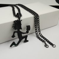 Wholesale icp hatchetman - Free ship Plated black ICP Jewelry Punk Stainless Steel large 2'' Hatchetman Juggalette Pendant with 5mm 24inches Cuban Chain Necklace