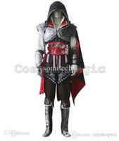 Wholesale Ezio Costume Assassin - Wholesale-Assassins Creed II 2 Ezio Cosplay Black Costume - Custom made in Any size