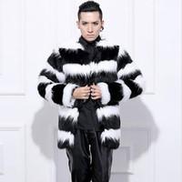 Großhandels- Heißer Verkauf 2015 Neue Ankunft Männer Winter Faux Pelzmantel Mode  Schwarz Weiß Streifen Kaninchen warme Pelzmäntel Plus Größe Männer Mantel  ... 886f68e108