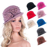 Wholesale Womens Cloche - Womens Floral Gatsby 1920s Flapper Girl Style Winter Wool Cap Beret Beanie Cloche Bucket Hat A287