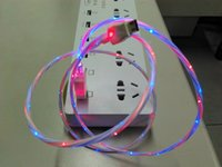 Wholesale Micro Night Light - 2017 Glowing LED USB Cable Double Colors Light Up Data LED Round Cable USB Data Charging Cable Cool At Night Freeshipping Wholesale