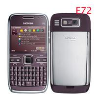 telefone 5mp desbloqueado venda por atacado-Remodelado E72 Original Nokia E72 Telefone Móvel 3G Wifi GPS 5MP Preto Desbloqueado E Série Smartphone Um ano de garantia