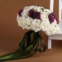 Wholesale Western Wedding Bouquets - Bouquet De Mariee Green Ribbon Beautiful Ramo De Novias Western Coutryside Ramo De La Boda New Arrival Beautiful wedding Flowers