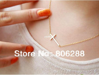 Wholesale Sideways Crosses Necklace - 2013'NEW Lady Horizontal Sideways Cross 14k Gold Plated Pendant Necklace