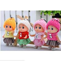 mini bebek kız bebekleri toptan satış-300 adet Çocuk Oyuncakları Yumuşak Interaktif Bebek Bebekler 8 cm Anahtarlık Oyuncak Mini Bebek kız ve erkekler Için Bebekler Doldurulmuş Oyuncaklar