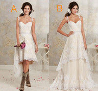 Wholesale Spaghetti Shorts - Two Styles Lace Country Wedding Dresses High Low Short Bridal Dresses And Floor length Multi Layers Garden Bohemian Wedding Gowns