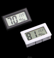 Wholesale Temperature Humidity Meter Hygrometer - Mini Black White Digital LCD Embedded Thermometer Hygrometer Temperature Humidity Meter indoor Thermometer Free shipping