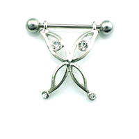 Wholesale animal nipple rings resale online - Brand New Fashion Classic Nipple Rings Stainless Steel Barbell Rhinestone Alloy Butterfly Breast Body Piercing Jewelry