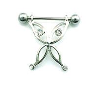 anillos del pezón del rhinestone al por mayor-Nueva marca Classic Nipple Rings Acero inoxidable Barbell Rhinestone aleación Mariposa Pecho Piercing del cuerpo Joyería