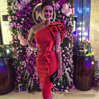 vestidos de noite bodycon venda por atacado-Moda vermelha na altura do joelho Vestidos de Cocktail Bainha Curta Bodycon Vestidos de Festa À Noite Formal Vestidos Para Gala Desgaste