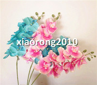 Single Flower orchid chinese - Silk Phalaenopsis Colors Butterfly Moth Orchid Flower heads Piece Orchids for Wedding Decorative Artificial Flowers