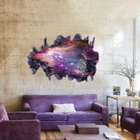 Wholesale Wallsticker Living Room - Wholesale- Modern Luxury Creative 3d Wallpaper Bedroom Living Room Ceiling Painting Floor Roofs Stars Galaxy Nebula WallSticker Stickers